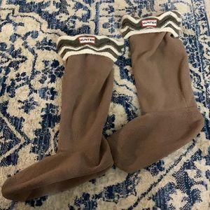 Hunter boot socks olive green striped